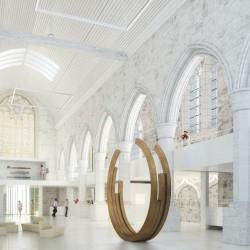Vue_intérieure_Eglise_réhabilitée_hall_accueil_Musée_de_Morlaix_Sculpture_Bernar-Venet_©menomenopiu_ATELIER-NOVEMBRE_sculpture_Bernar-Venet