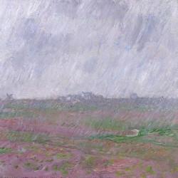 Sur un format carré, Claude Monet a peint ce tableau qu'il qualifia de pochade en 1886. Un jour de pluie l'artiste a peint ce qu'il voyait de sa fenêtre. Un paysage coupé en sa moité par l'horizon. Au premier plan un champ couvert d'une lande qui donne des couleurs roses, vertes et rouges au premier plan. Le ciel aux tons violets rempli d'eau est traité par de grands coups de pinceaux visibles. Ce traitement pictural se retrouve aussi dans le champs. Sur l'horizon quelques maisons et un moulin à l'extrême gauche apparaissent à travers cet effet de pluie.