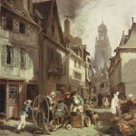 Ce format carré est un détail de l'œuvre originale peinte par Jules Noêl. Dans une rue, aujourd'hui rue du mur, des gens s'affairent. Un rémouleur installé dans le haut de cette rue travaille sous le regard de clients ou de simples passants. Derrière lui, un enfant active une grande roue afin d'activer la mécanique de l'artisan. Cette scène se déroule devant des maisons qui forment une rue jusqu'à l'église St Matthieu dont le cloché est aujourd'hui moins garni.